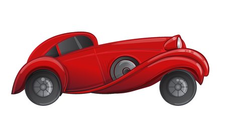 Art deco style red car. Vector illustration. Roaring Twenties. Classic automobile, luxury vintage concept.