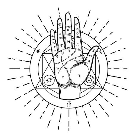 Mani d'epoca. Illustrazione abbozzata disegnata a mano con simboli disegnati a mano mistici e occulti. Concetto di chiromanzia. Illustrazione vettoriale. Spiritualità, astrologia e concetto esoterico. Vettoriali