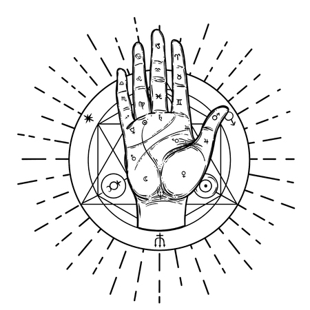Vintage-Hände. Handgezeichnete skizzenhafte Illustration mit mystischen und okkulten handgezeichneten Symbolen. Handlesen-Konzept. Vektor-Illustration. Spiritualität, Astrologie und esoterisches Konzept. Vektorgrafik