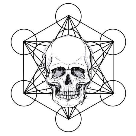 神聖な幾何学シンボルの上に人間の頭蓋骨。悪魔、おとぎ話のキャラクター。神秘的な円。奥義の。白色に分離されたモノクロ描画。ベクターの図。ポスター、Tシャツプリントデザイン。