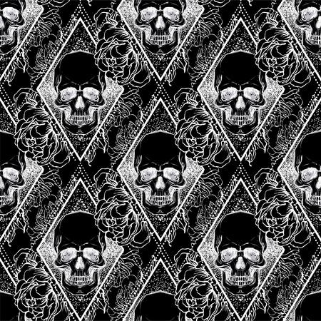 Cráneo humano con flores de peonía, rosa y amapola sobre fondo de geometría sagrada. Patrón sin costuras. Elemento de diseño de tatuaje. Ilustración de vector de papel tapiz, impresión textil, papel de regalo.