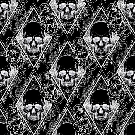 Human skull with peony, rose and poppy flowers over sacred geometry background. Seamless pattern. Tattoo design element. Vector illustration for wallpaper, textile print, wrapping paper. Stock Illustratie