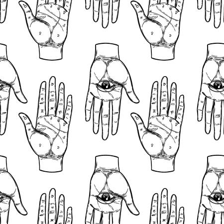 Manos vintage con ojo que todo lo ve. Mística, magia, fondo. Religión y ocultismo con símbolos esotéricos y masónicos. Inspirado en manuscrito medieval. Patrón transparente de vector en estilo retro.