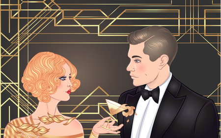 Beautiful couple in art deco style. Retro fashion: glamour man and woman of twenties. Vector illustration. Flapper 20s style. Vintage party or thematic wedding invitation design template. Illusztráció