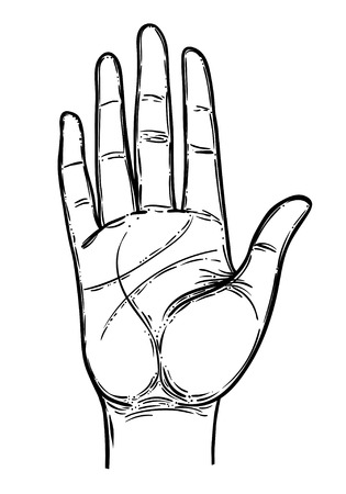 Vintage Hands. Hand drawn sketchy illustration with mystic and occult hand drawn symbols. Palmistry concept. Vector illustration. Spirituality, astrology and esoteric. Vettoriali