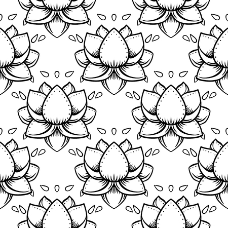 Stylish lotus flowers seamless pattern. Ayurveda symbol of harmony and balance, and universe. Tattoo design, yoga logo. Boho print,wrapping paper, wallpaper, fabric, textile.