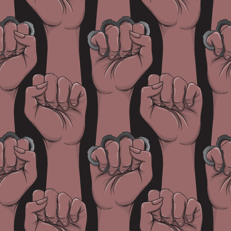 African woman's hand with brass knuckles. Fist raised up. Black Girl Power. Feminism concept. Realistic style vector illustration in brown colors isolated on black. Seamless pattern design.