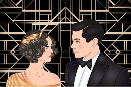 Beautiful couple in art deco style. Retro fashion: glamour man and woman of twenties. Vector illustration. Flapper 20s style. Vintage party or thematic wedding invitation design template. Çizim