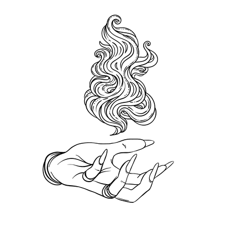 Hand of witch with fire. Mystic character. Alchemy, religion, spirituality, occultism, tattoo art. Isolated vector illustration. Halloween concept, coloring book for adults.