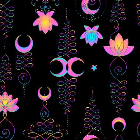 Lotus en heilige geometrie. Naadloze patroon. Unamole hindoesymbool van wijsheid en pad naar perfectie. Tatoeage, yoga-logo, boeddhisme-ontwerp, print, poster, t-shirt, textiel. herhalende vectorillustratie.