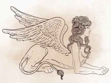 Sphinx, mythical creature with head of human, body of lion and wings. Victorian motif, tattoo design element. Vintage logo concept art. Isolated vector illustration in line art style. Illustration