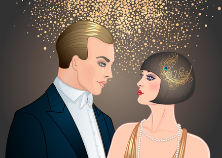 Beautiful couple in art deco style. Retro fashion: glamour man and woman of twenties. Vector illustration. Flapper 20s style. Vintage party or thematic wedding invitation design template. Ilustração