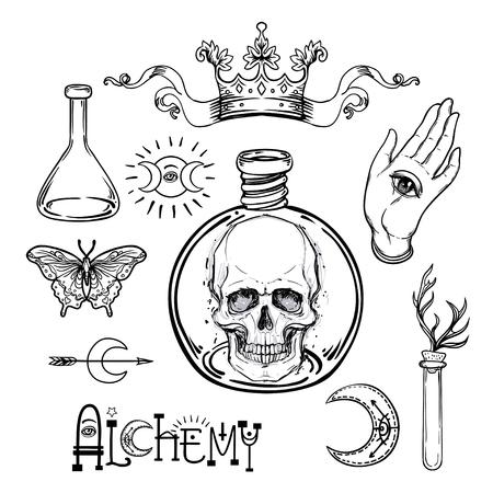 Alchemie Symbol Symbol gesetzt. Spiritualität, Okkultismus, Chemie, magisches Tattoo-Konzept. Weinlesevektorillustrationssammlung mit mystischen und okkulten Zeichen. Halloween, astrologische Elemente.