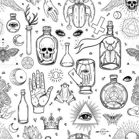 Mística, magia, fondo. Religión y ocultismo con símbolos esotéricos y masónicos. Inspirado en manuscrito medieval. Patrón transparente de vector en estilo retro. Repetición de textura elegante de moda.