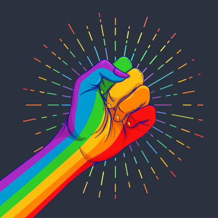 Rainbow colored hand with a fist raised up. Gay Pride. LGBT concept. Realistic style vector colorful illustration. Sticker, patch, t-shirt print, logo design.
