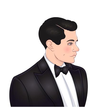 Moda retro: stylowy mężczyzna w latach dwudziestych. Ilustracja wektorowa. Klapa w stylu lat 20-tych. Vintage party lub szablon projektu zaproszenia tematyczne.