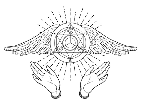 Open hands. Hand drawn illustration. Occult design with angels wings. Dotwork ink tattoo flash design. Vector isolated on white. Astrology, Sacred Spirit.