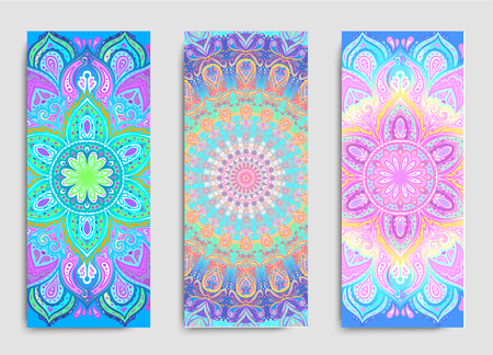 Stretch and Strength. Yoga card, flyer, poster, mat design. Colorful template for spiritual retreat or yoga studio. Ornamental business cards, oriental pattern. Vector illustration