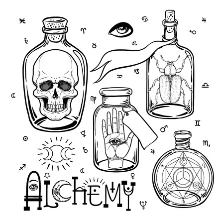 Alchemy symbol icon set. Spirituality, occultism, chemistry, magic tattoo concept. Vintage vector illustration collection with mystic and occult signs. Halloween, astrological elements.