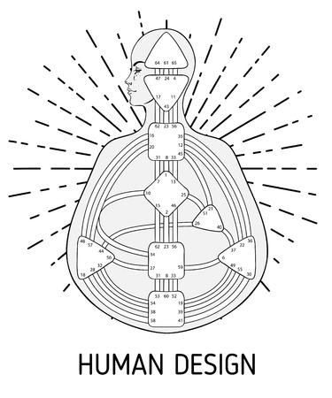 Diseño de gráfico de bodygraph de diseño humano. Vector ilustración aislada. Plantilla en blanco del sistema de puertas de centros de energía