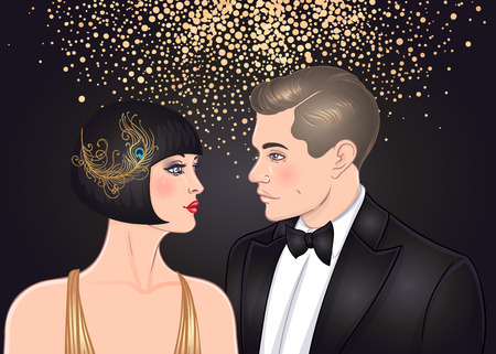 Beautiful couple in art deco style. Retro fashion: glamour man and woman of twenties. Vector illustration. Flapper 20s style. Vintage party or thematic wedding invitation design template. 일러스트