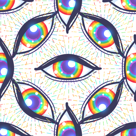 Patrón sin fisuras con ojos de color arco iris. Bandera de la comunidad LGBT dentro del globo ocular. Ilustración de vector de textiles, moda, estampados, fondos de pantalla, fondos.