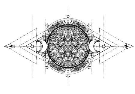 Lotus, Eye, Sacred Geometry. Ayurveda symbol of harmony and balance, and universe. Tattoo flesh design, yoga logo. Boho print, poster, t-shirt textile. Anti stress book. Isolated vector illustration. Stock Illustratie
