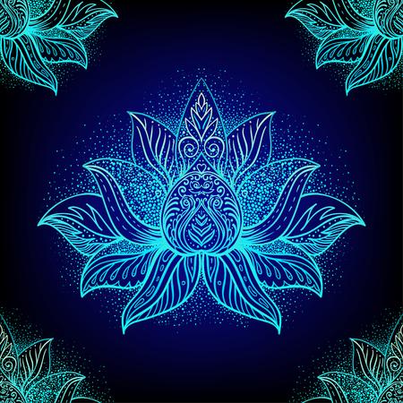 Vector  ornamental Lotus Bohemian floral paisley seamless ornament. Folk henna tattoo style pattern. Indian style. Vintage ornate vector wallpaper. Astrology, alchemy, spirit, magic.