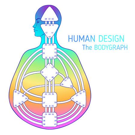 Disegno grafico bodygraph di disegno umano. Illustrazione vettoriale isolato. Modello vuoto del sistema di cancelli dei centri energetici Vettoriali