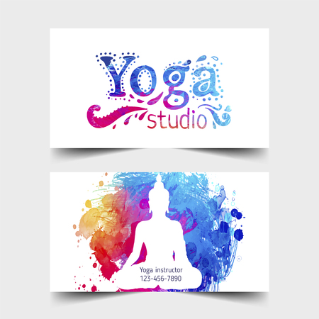Stretch and Strength. Yoga card design. Colorful template for spiritual retreat or yoga studio. Ornamental business cards, oriental pattern. Vector illustration.