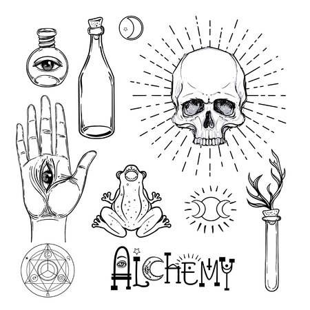 Alchemy symbol icon set. Spirituality, occultism, chemistry, magic tattoo concept. Vintage vector illustration collection with mystic and occult signs. Halloween, astrological elements. Vettoriali