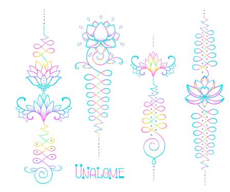 Lotus and Sacred Geometry. Unamole hindu symbol of wisdom and path to perfection. Set of tattoo flesh, yoga logo, Buddhism design. Boho print, poster, t-shirt textile. Isolated vector illustration set Logo