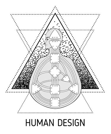 Diseño de gráfico de bodygraph de diseño humano. Vector ilustración aislada. Plantilla en blanco del sistema de puertas de centros de energía Ilustración de vector