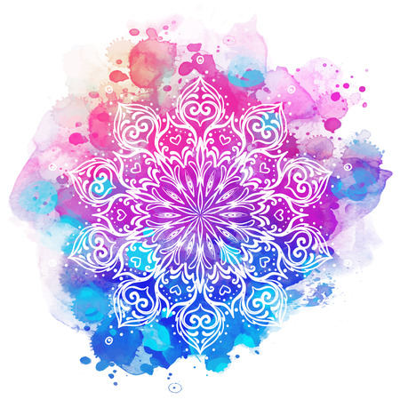 Mandala over colorful watercolor. Beautiful vintage round pattern. Hand drawn abstract background. Decorative isolated. Invitation, t-shirt print, wedding card. Tattoo element.