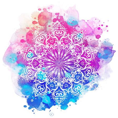 Mandala sobre acuarela colorida. Hermoso patrón redondo vintage. Fondo abstracto dibujado a mano. Decorativo aislado. Invitación, estampado de camiseta, invitación de boda. Elemento de tatuaje. Ilustración de vector