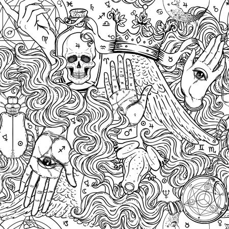 Mística, magia, fondo. Religión y ocultismo con símbolos esotéricos y masónicos. Inspirado en manuscrito medieval. Patrón transparente de vector en estilo retro. Repetición de textura elegante de moda. Ilustración de vector