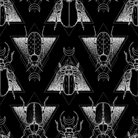 Black and white beetle over sacred geometry, isolated vector illustration. Seamless pattern. Mystical symbols and insects. Alchemy, religion, occultism, spirituality. Hand-drawn vintage. Illusztráció