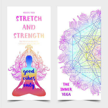 Stretch and Strength. Yoga card design. Colorful template for spiritual retreat or yoga studio. Ornamental business cards, oriental pattern. Vector illustration. Ilustração