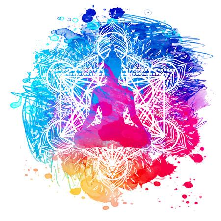 Buddha over watercolor background. Vector illustration. Vintage decorative composition. Indian, Buddhism, Spiritual motifs. Tattoo, yoga, spirituality. Illustration