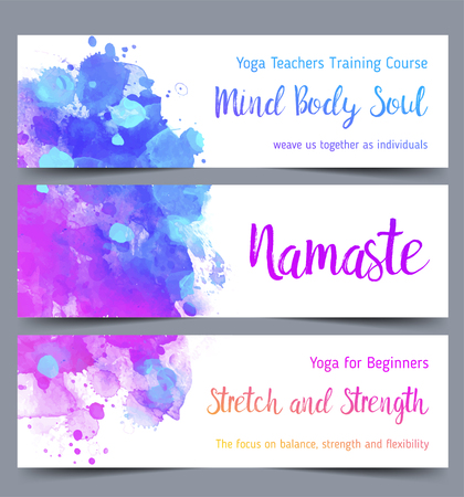 Stretch and Strength. Yoga card design. Colorful template for spiritual retreat or yoga studio. Ornamental business cards, oriental pattern. Vector illustration. Illustration