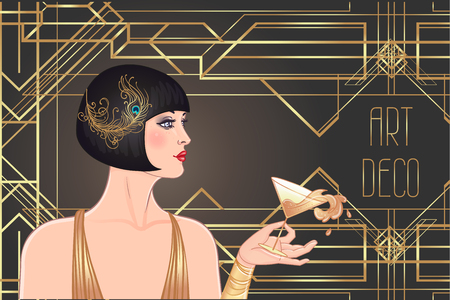 Weibliche Hand, die Cocktailglas mit Spritzer hält. Vintage-Einladungsschablonenentwurf des Art Deco (1920er Art) für Getränkekarte, Barmenü, Glamour-Ereignis, thematische Hochzeit, Jazz-Party-Flyer. Vektorgrafiken. Vektorgrafik