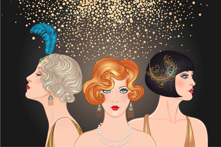 Flapper girls set: three young beautiful women of 1920s. Vector for glamour event, thematic wedding or jazz party. Illustration