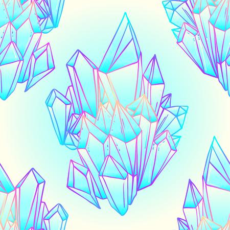 Nahtloses Muster des Hand gezeichneten Kristalledelsteins. Geometrisches glänzendes Edelsteinsymbol. Trendiger Hipster-Hintergrund, Stoffdesign, Modetextilien. Farbverlauf. Isolierte Vektor-Illustration. Pastell Gothic-Stil