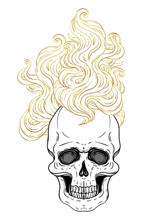 Human skull with fire or hair. Demon, fairy tale character. Mystical circle. Esoteric. Monochrome and gold drawing isolated on white. Vector illustration. Poster, t-shirt print design.