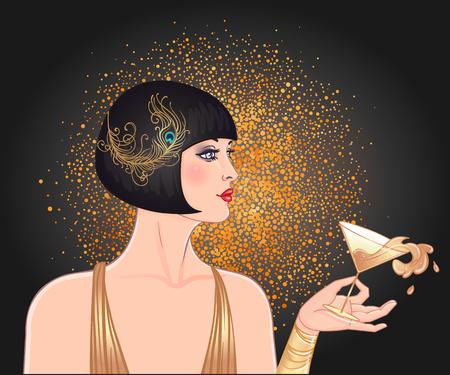 Weibliche Hand, die Cocktailglas mit Spritzer hält. Vintage-Einladungsschablonendesign des Art Deco (1920er Art) für Getränkekarte, Barmenü, Glamour-Ereignis, thematische Hochzeit, Jazz-Party-Flyer. Vektorgrafiken.
