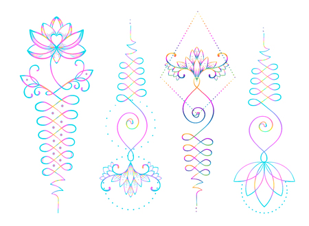 Lotus et géométrie sacrée. Unamole symbole hindou de la sagesse et du chemin vers la perfection. Ensemble de chair de tatouage, logo d'yoga, conception de bouddhisme. Imprimé Boho, affiche, textile t-shirt. Ensemble d'illustration vectorielle isolé