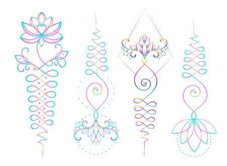 Lotus und Heilige Geometrie. Unamole hinduistisches Symbol der Weisheit und des Weges zur Perfektion. Satz Tätowierungsfleisch, Yoga-Logo, Buddhismusentwurf. Boho-Druck, Poster, T-Shirt-Textil. Isolierter Vektorillustrationssatz