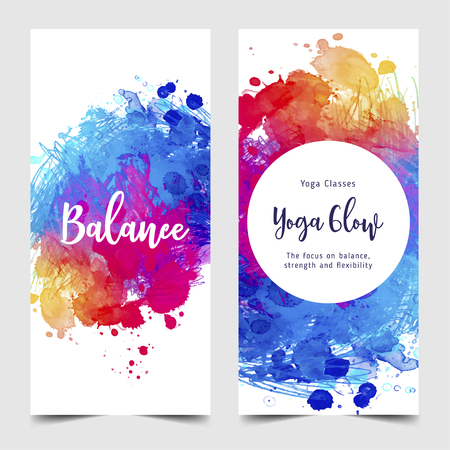 Stretch and Strength. Yoga card design. Colorful template for spiritual retreat or yoga studio. Ornamental business cards, oriental pattern. Vector illustration. Vector Illustration