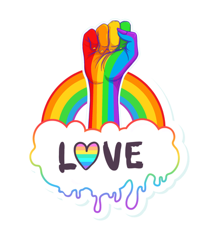 Rainbow colored hand with a fist raised up. Gay Pride. LGBT concept. Realistic style vector colorful illustration. Sticker, patch, t-shirt print, logo design. Ilustração