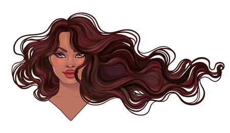 Beautiful woman with long wavy hair flowing in the wind. Hair salon concept. vector illustration isolated. Portrait of a young African American woman. Glamour Fashion concept. Vetores